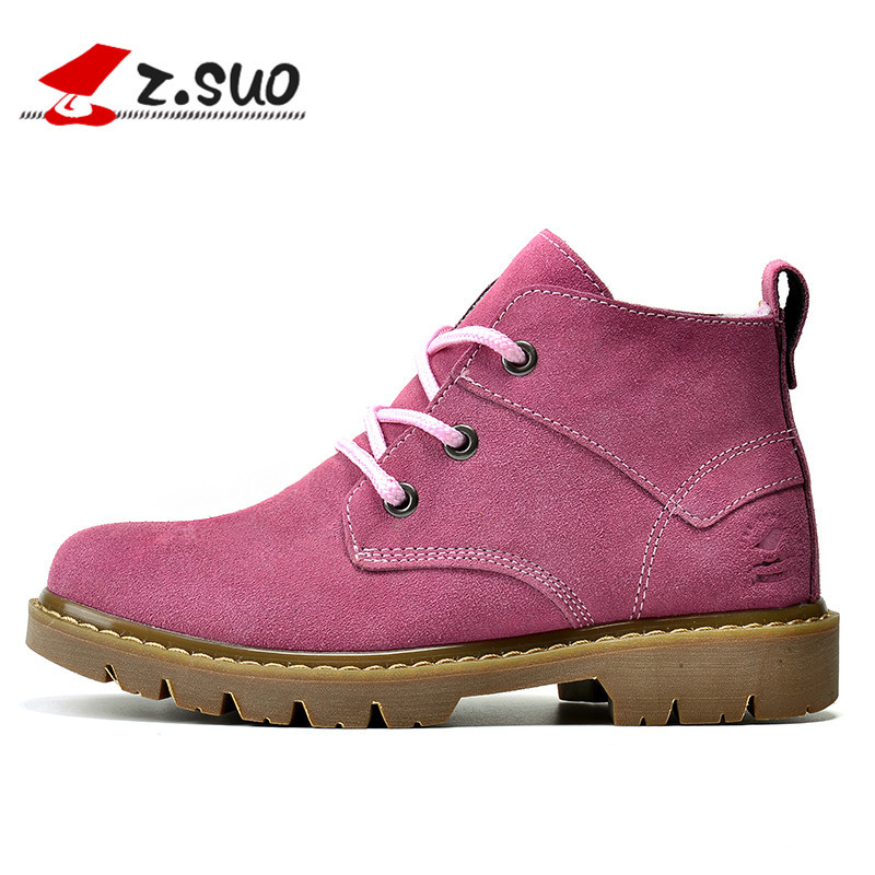 New 2017 Brand Winter Ladies Ankle Boots Pink Genuine Leather Flat Women Boots Fashion Outdoor Shoes Woman Botas Mujer Size35-39 2017 fashion autumn genuine leather red women boots winter black flat martin solid ladies shoes woman boots zapatos mujer 1406n
