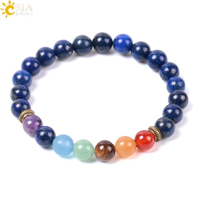 CSJA Natural Gem Stone Blue Lapis Lazuli Strand Bracelets Bangle Healing Yoga 7 Chakra Meditation Reiki Mala Buddhism Beads E959