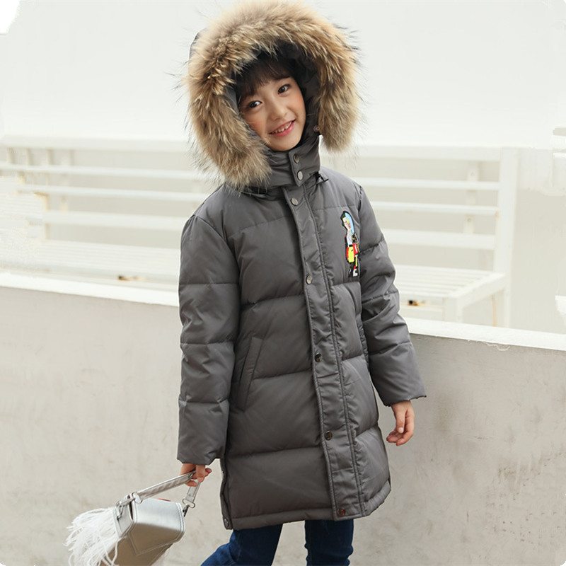 Girls Down Jacket 2017 Children's Long Winter Coat Fashion Cartoon Hooded Big Fur Collar Warm Outerwear 120-150 2017 winter women jacket new fashion thick warm medium long down cotton coat long sleeve slim big yards female parkas ladies269