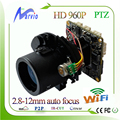 960 P 1.3 Milhões de pixels zoom 2.8-12mm IP X4 lente placa da câmera de rede PTZ módulo autofocal suporte de áudio wi-fi estender