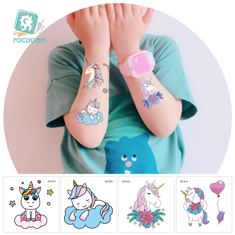 New Arrival 2019 Mini Unicorn Horse Tattoo Design For Boys Girls Kids Waterproof Temporary Tattoo Sticker For Children.