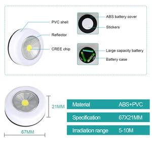 Image 4 - Cob Led Cordless Stick Tap Kledingkast Touch Light Lamp 3W Batterij Aangedreven Keukenkast Kast Push Tap Home Stok op Lamp Blub