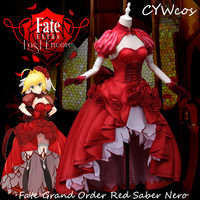 FGO Fate Grand Order Red Saber Nero Cosplay Costume Red Dress Christmas Party Uniforms Costumes Top+Dress+Headdress+Stocking