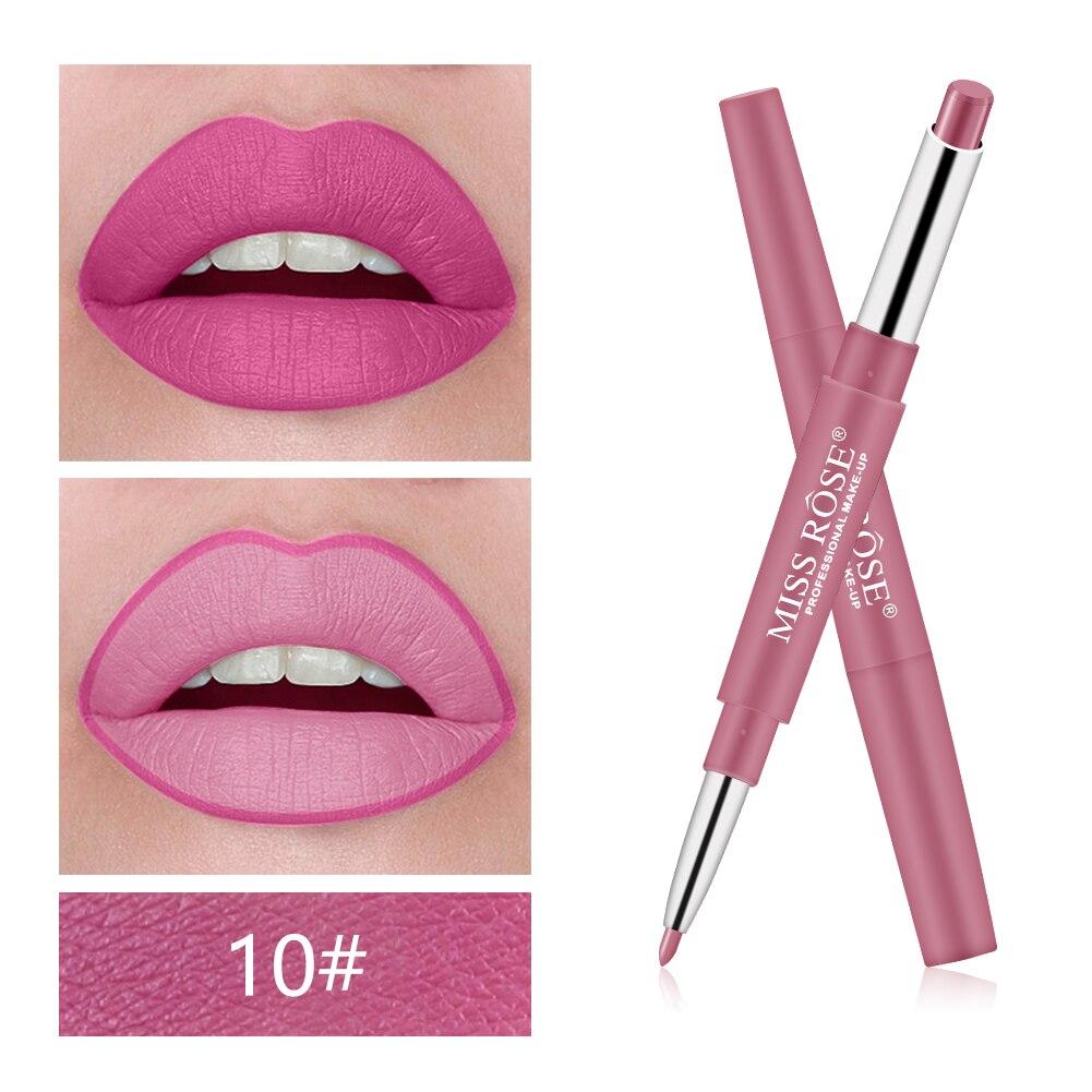 MISS ROSE 1Pc 2 In 1 Double-Headed Matte Lipstick Lip Liner Pencil Waterproof Long Lasting 30 Colors Matte Lip Tube Makeup TSLM2 2