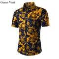 Nueva Moda Casual Hombres Camisa de Flores de Manga Corta Slim Fit Camisa de Los Hombres de Negocios de Corea del Mens Camisas de Vestir Ropa de Los Hombres M-5XL