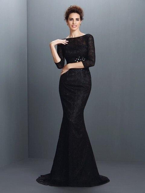 de9c061bd57 Cecelle 2016 Modest Black Lace Mermaid Bridesmaid Dresses Long Full Sleeves  Court Train High Neck Wedding