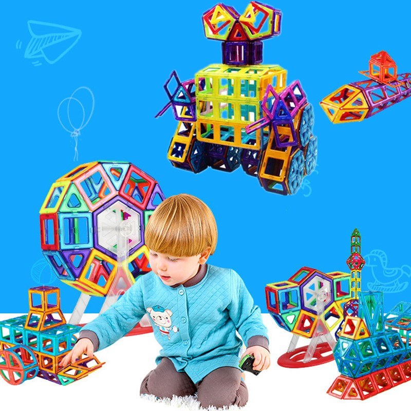 Image 5 - 54 sztuk Big Size klocki magnetyczne trójkąt kwadratowy cegła projektant cegły oświetlone zabawki magnetyczne darmowe naklejki prezentmagnetic building blocksbuilding blocksdesign block -