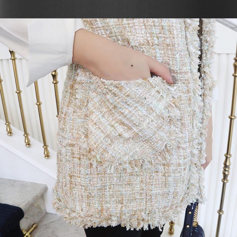 Sans Femme Avancée 2019 automne Color Veste Paillettes été Photo Manches Printemps Pour Tweed Longue D'une Pièce Manteau Personnalisée Seule 45nggxZ