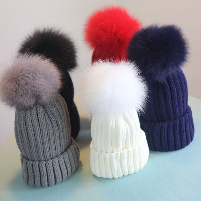 Free Shipping  Winter Woman's Cap Ladies Knitted Hats & Caps With Natural Fur pom Poms Beanies
