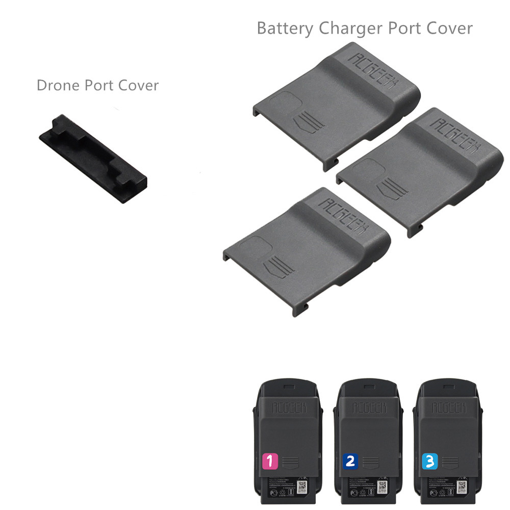 4pcs set 1pcs Drone Port Cap + 3pcs Battery Charger Port Cover Board Dust-proof Short Circuits Protection Guard For  DJI SPARK 1 (1)