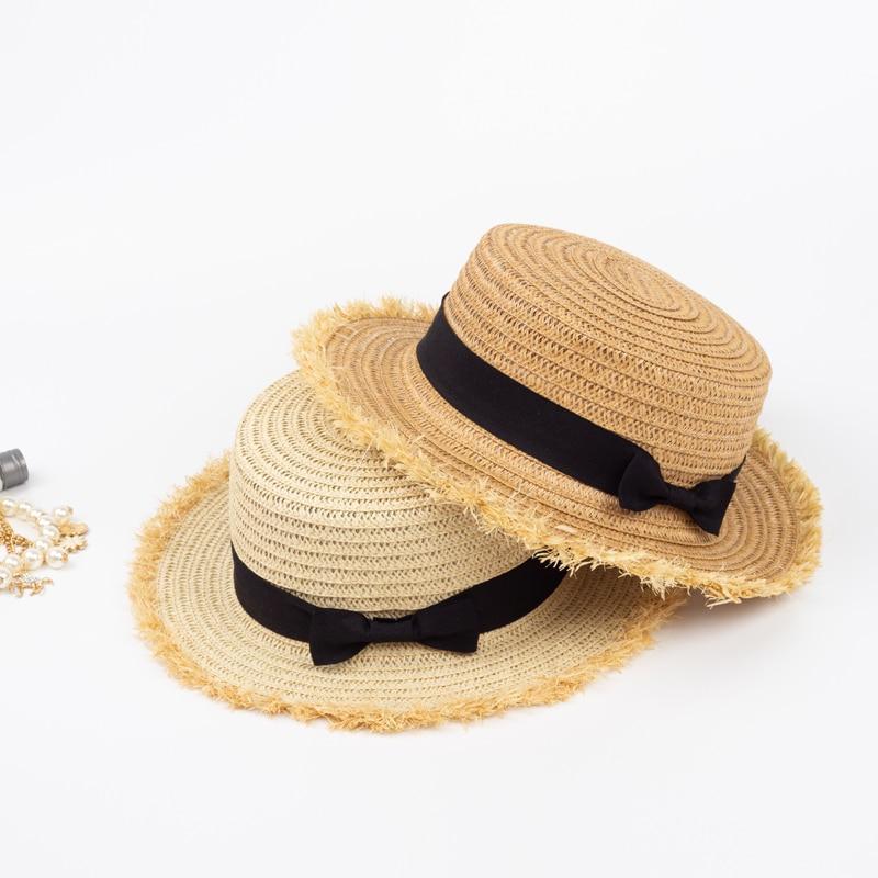 d8450c85 HSS 2018 Newest Summer Women's Sun Hats Lady Travel Flat Top Straw Hat Bow  Black Street Sun Caps Shopping Fashion Shooting beach