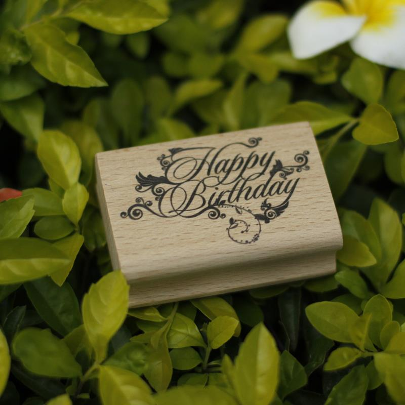 DIY happy birthday rubber wooden stamps for stempel carimbo postcard or bookmark scrapbooking stamp 6*4cm free shipping handmade vintage towel 7 4cm tinta sellos craft wooden rubber stamps for scrapbooking carimbo timbri stempel wood silicone stamp