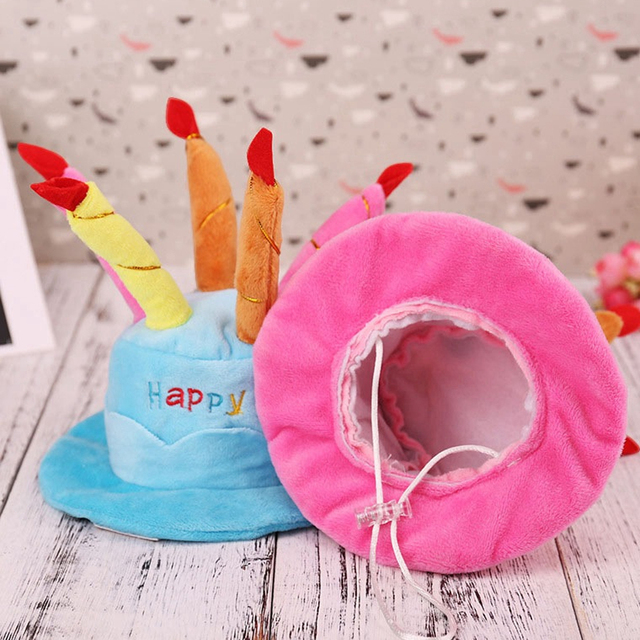 Pet Birthday Party Costume Dog Caps Cute For Dogs Cat Hat With Cake Candles Design Head Wear