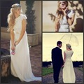 Bohemian 2016 Summer Beach Wedding Dress Deep V-neck Flowers Backless Long Chiffon Floor Length A-line Elegant Boho Bridal Gowns