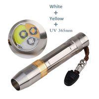 UltraViolet Flashlight Detector for Amber/Jade/Diamond/Mineral/Gemstones 3 in one white+yellow+365nm uv