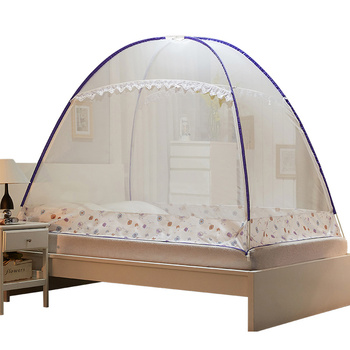 Folding Three-door Mosquito Net For Double Bed Canopy Pest Control Reject Net Purple Mongolian Yurt Mosquito Net 3 Sizes