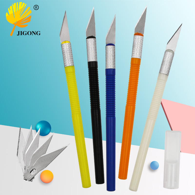 Non-Slip Metal 6 Blades Wood Carving Tools Fruit Food Craft Sculpture Engraving Utility Knife For Stationery Art Supplies