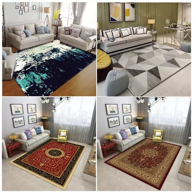 Moderne minimaliste art abstrait salon tapis table basse chambre pleine personnalisée rectangulaire grand tapis - 5