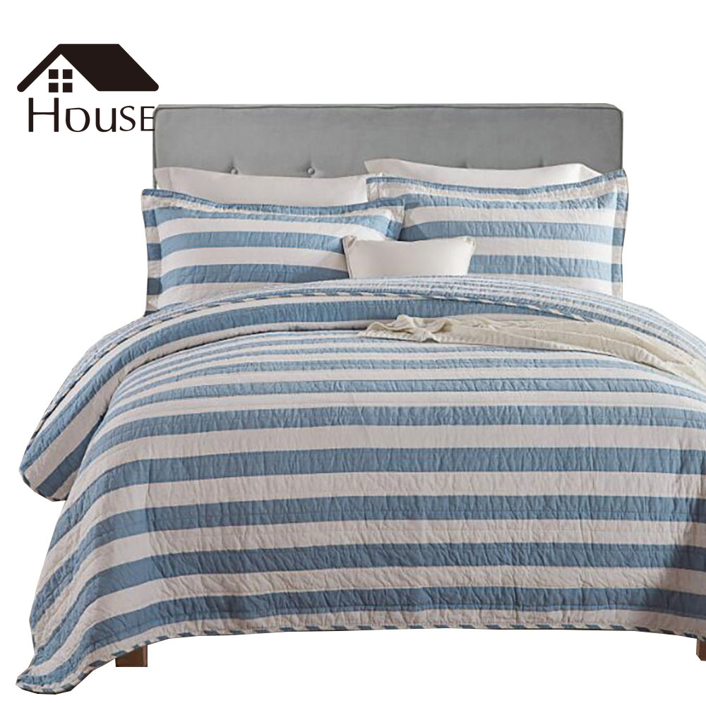 BIGHOUSES Summer Quilt Three piece Quilted Bed with Printed Straight Stripes and Horizontal Stripes Comforter Bedding Sets