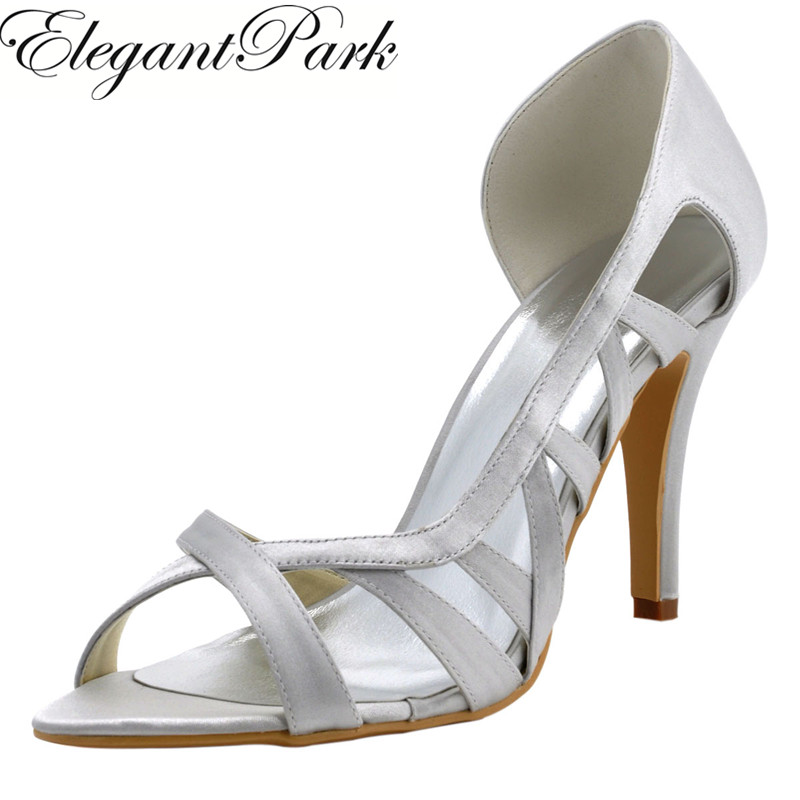 Woman High Heel Wedding Sandals Silver Peep Toe Bridesmaid Bride Bridal Shoes Satin Lady Prom Party Evening Pumps White Ivory free shipping ep2114 3 white women peep toe evening bridal party pumps sandals rhinestones satin wedding shoes