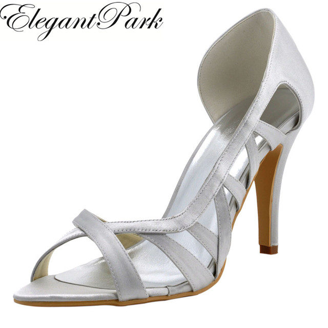 Woman High Heel Wedding Sandals Silver Peep Toe Bridesmaid Bride ...