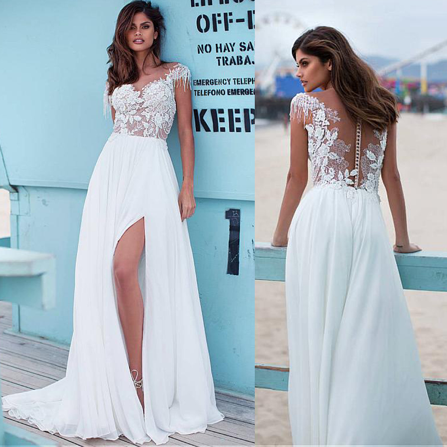 Charming Chiffon Bateau Neckline A-line Wedding Dresses With Beaded Lace Appliques Beading Chains Front Slit Bridal Dresses