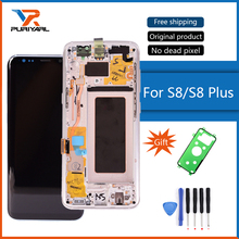 Asli Super AMOLED Display LCD Untuk Samsung Galaxy S8 G950 S8 Plus G955 LCD Dengan Layar Sentuh Digitizer Perakitan Dengan bingkai