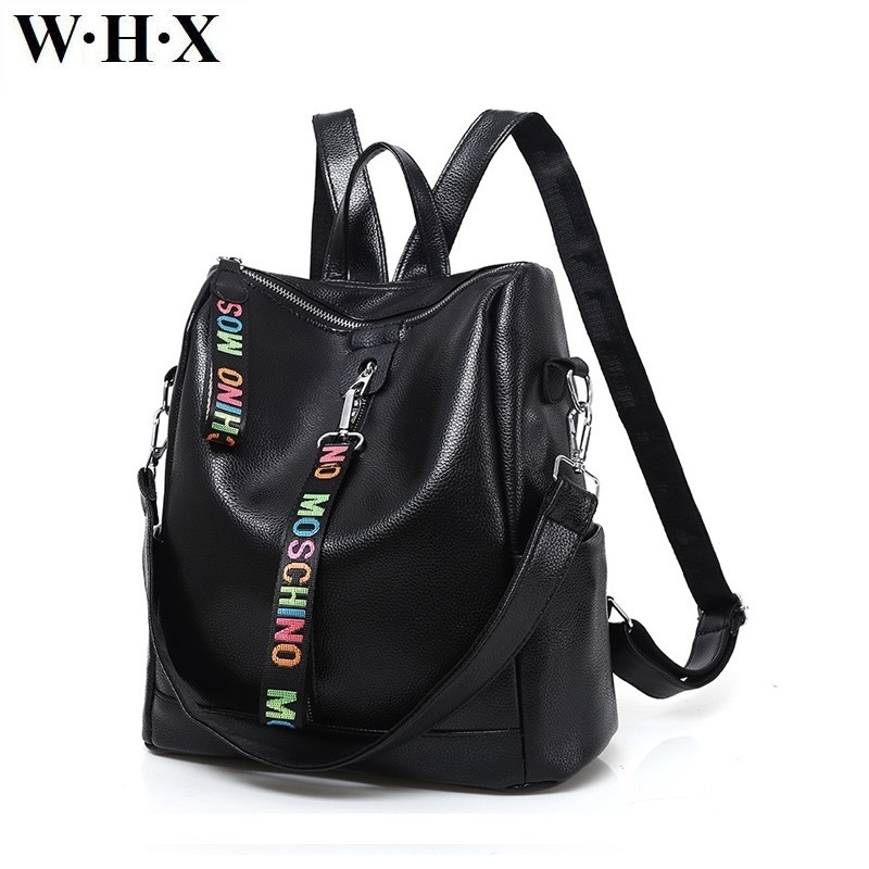 Whx Brand New Style Women Large Backpack Pu Leather Female Backpacks Satchel School Bag For Girls Lady Knapsack Student Book Bag