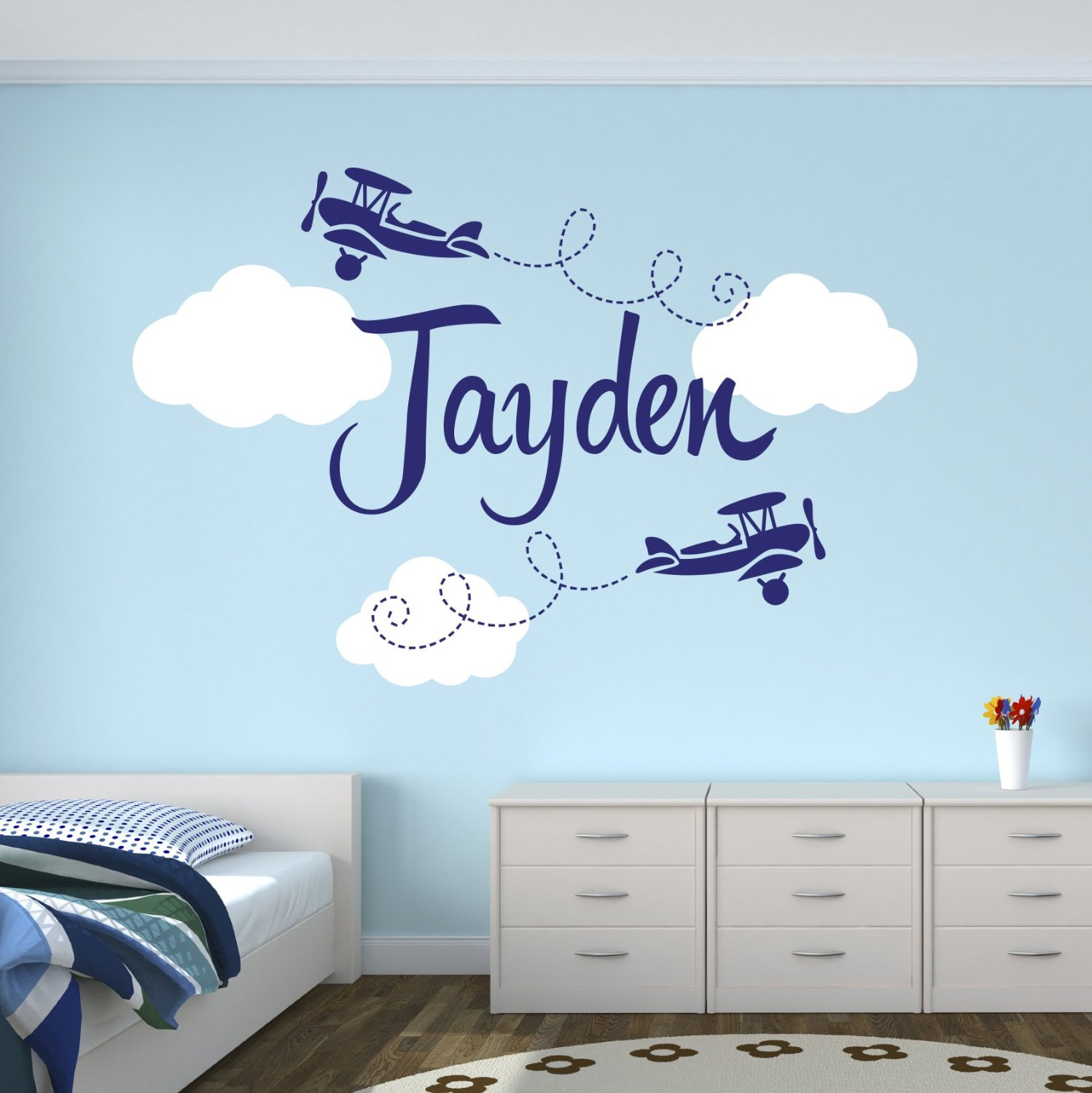 Personalized airplane name clouds decal nursery decor home for Sticker deco