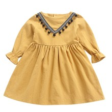 Baby Girls Ruched Tassels Princess Dresses Clothes