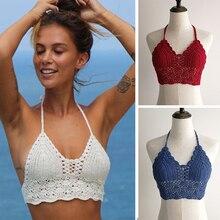 2019 New Bikini Top Sexy Women Summer Backless Crochet Knit Beach Knitting Halter Tank Crop S / M L XL Free Shipping