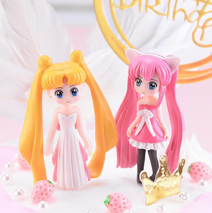 1 Pc Kawaii Cartoon Long Hair Beautiful Girl Model Action Figure Toy DIY Resin Craft Ornament Doll Toy-3
