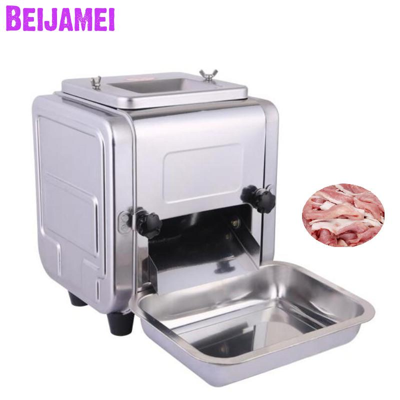 BEIJAMEI Commercial Meat Cutter 550W Desktop Meat Slicer Stainless Steel Meat Cutting Slicing 3/2.5/5/7mm Thickness