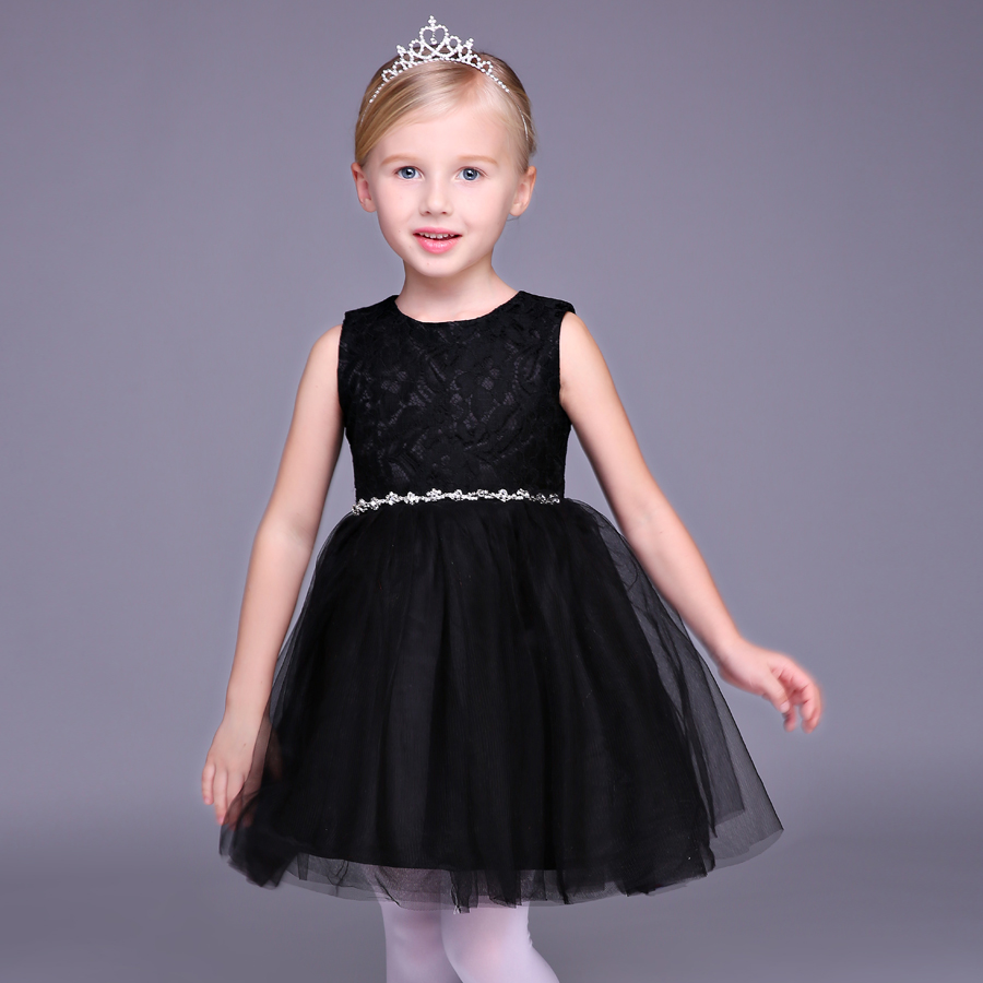 luxury black lace princess dress sleeveless knee-length girls pageant dress for prom party perform ball gown flower girl dresses 2017 long sleeve pink kid flower dress scoop neck with lace and bow ball gown ankle length prom princess pageant custom made