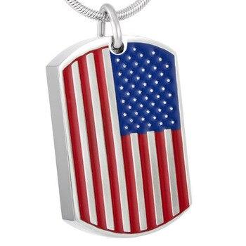 """IJD8462 bandera de los Estados Unidos monumento de acero inoxidable urna de cenizas de recuerdos colgante con 20 """"cadena + caja de regalo + de Kit"""