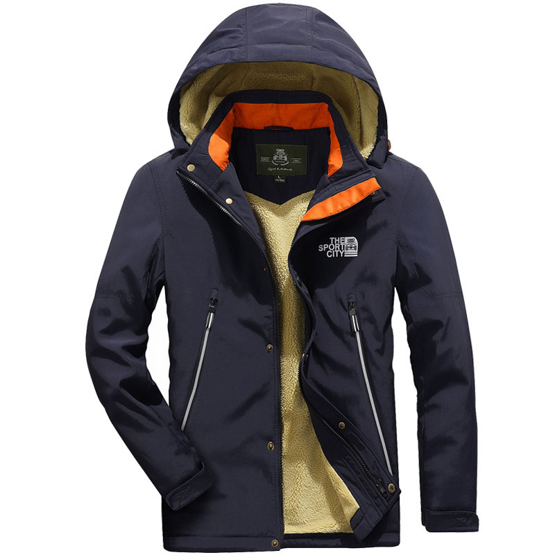 Brand ZHAN DI JI PU Fleece Windbreaker Jacket High Quality Windproof Thick Autumn Winter s Hooded Jacket Casual Outerwear