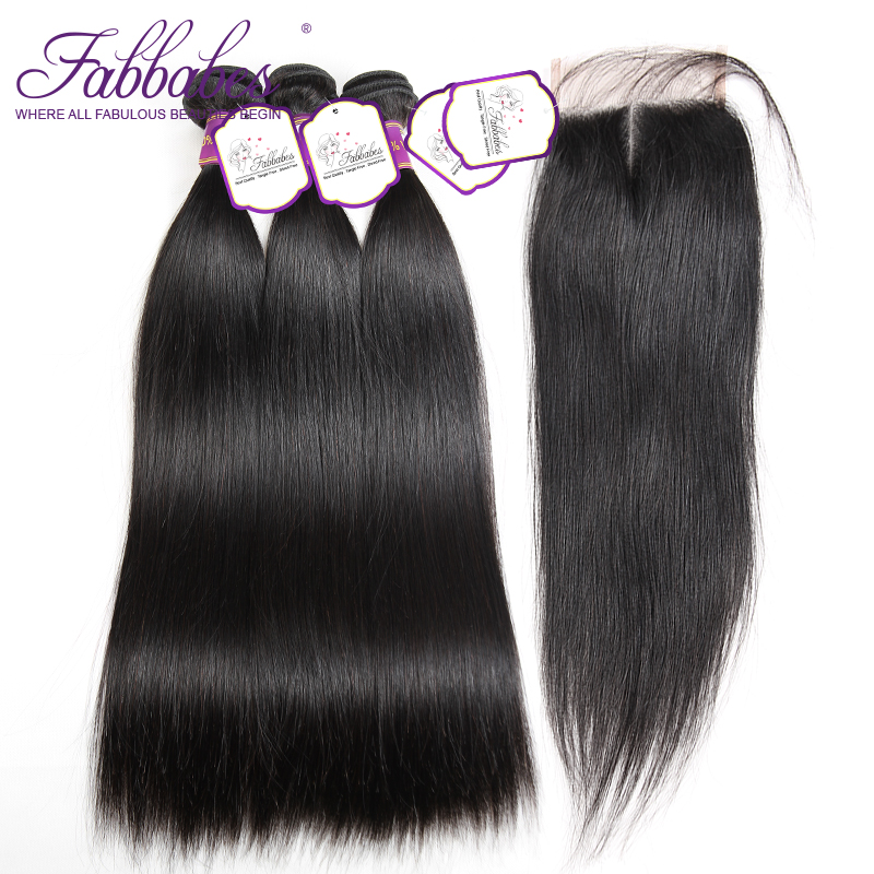 Fabbabes Hair 3 Bundles Indian Straight Hair With lace Closure 100% Remy Human Hair Bundles With 4*4 Hand Tied Closure
