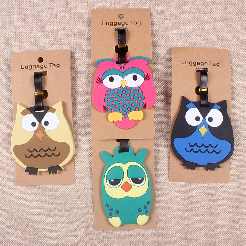 Travel Accessories Creative Luggage Tag  Cartoon Owl Silica Gel Suitcase ID Addres Holder Baggage Boarding Tags Portable LabelTravel Accessories Creative Luggage Tag  Cartoon Owl Silica Gel Suitcase ID Addres Holder Baggage Boarding Tags Portable Label