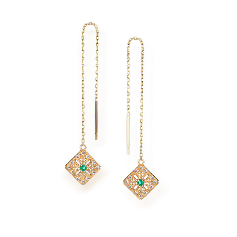 JXXGS 14K Gold Natural Emerald Earrings And Hollow Design Earrings Line For Girls