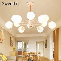 Скандинавский волшебный Bean люстры деревянный подвесной стеклянный шар лампа для гостиной Кухонные светильники подвесной светильник домаш