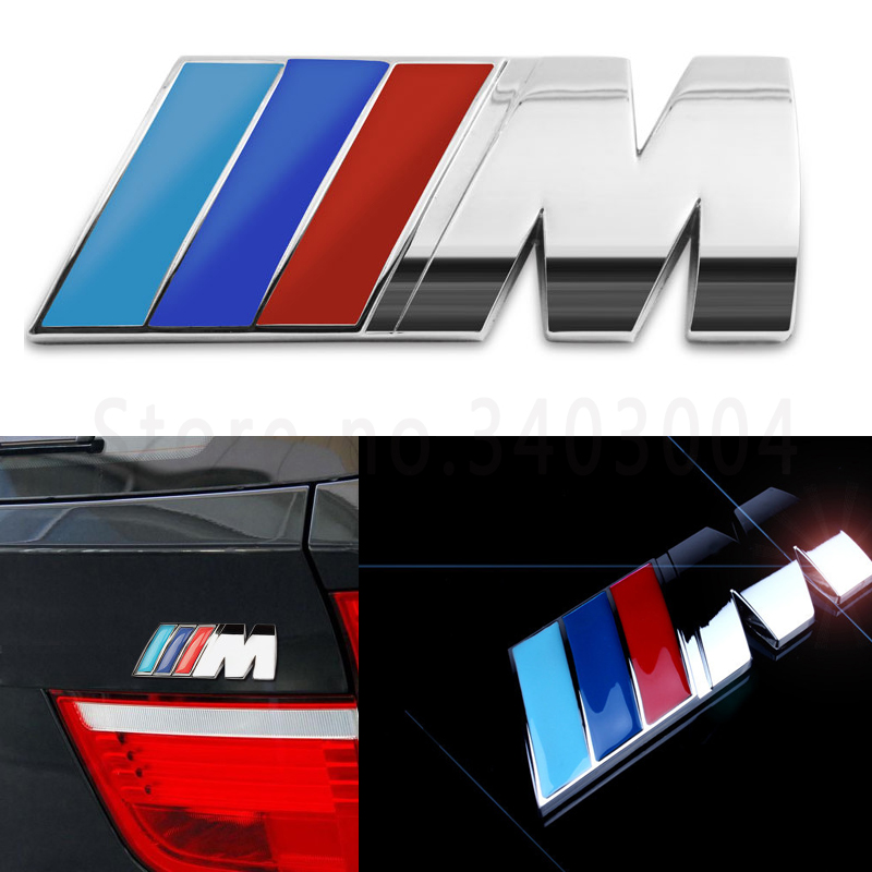 3D M Metal Car Stickers Emblem Badge Chrome Emblems Badge Fender Stikcer For BMW M Power Series M3 M5 M6 E46 E52 E53 E60 E90 E93 fr metal car stickers emblem badge for seat leon fr cupra ibiza altea exeo formula racing car accessories car styling