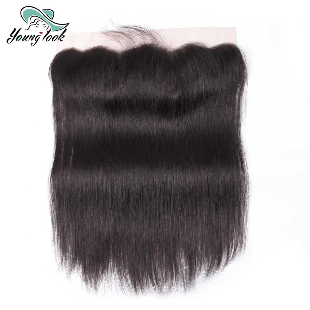 Young Look Hair Ear to Ear Lace Frontal Closure 13X4 Free Part With Baby Hair Pre Plucked Brazilian Straight Human Hair Non-Remy(China)