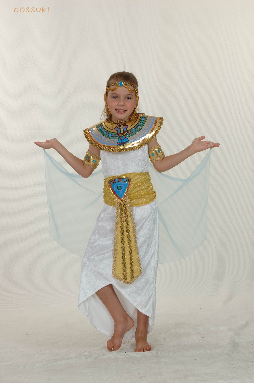 Halloween exotic cute children girls white egyptian style for Cool halloween costumes for kids girls