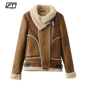 Fitaylor женская зимняя куртка из искусственной замши ягненка с мехом пальто теплое толстое мотоциклетное на молнии замшевое Женское пальто по...