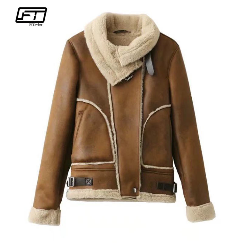 Fitaylor Women Winter Faux   Leather     Suede   Lamb Fur Jacket Coat Warm Thick Motorcycle Zipper   Suede   Female Jacket Casual Overcoat