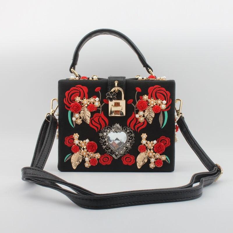 ФОТО 2017 new beaded embroidery box bag DG bag red roses wedding clutch Shoulder Messenger female bag elegant luxury evening handbag