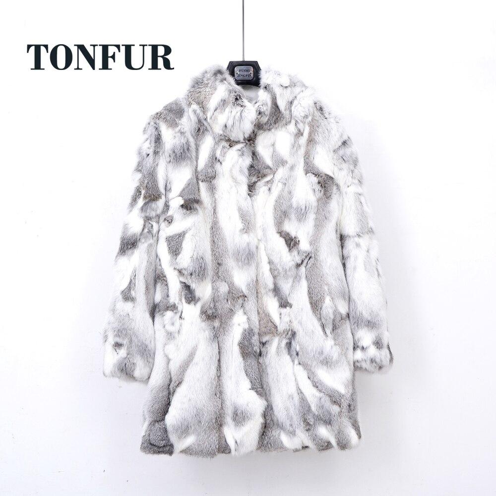 Épais chaud classique personnaliser fait grande taille vraie peau entière réel véritable manteau de fourrure de lapin femelle Mandarin col veste TSR257