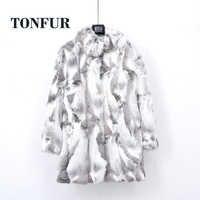 Grueso cálido clásico personalizado hecho de talla grande Real piel entera Real abrigo de piel auténtica de conejo mujer mandarín cuello chaqueta TSR257