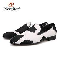 Piergitar/2018 мужские мокасины ручной работы с черными и белыми конскими волосами; модная мужская обувь для вечеринки и свадьбы; модные курительн