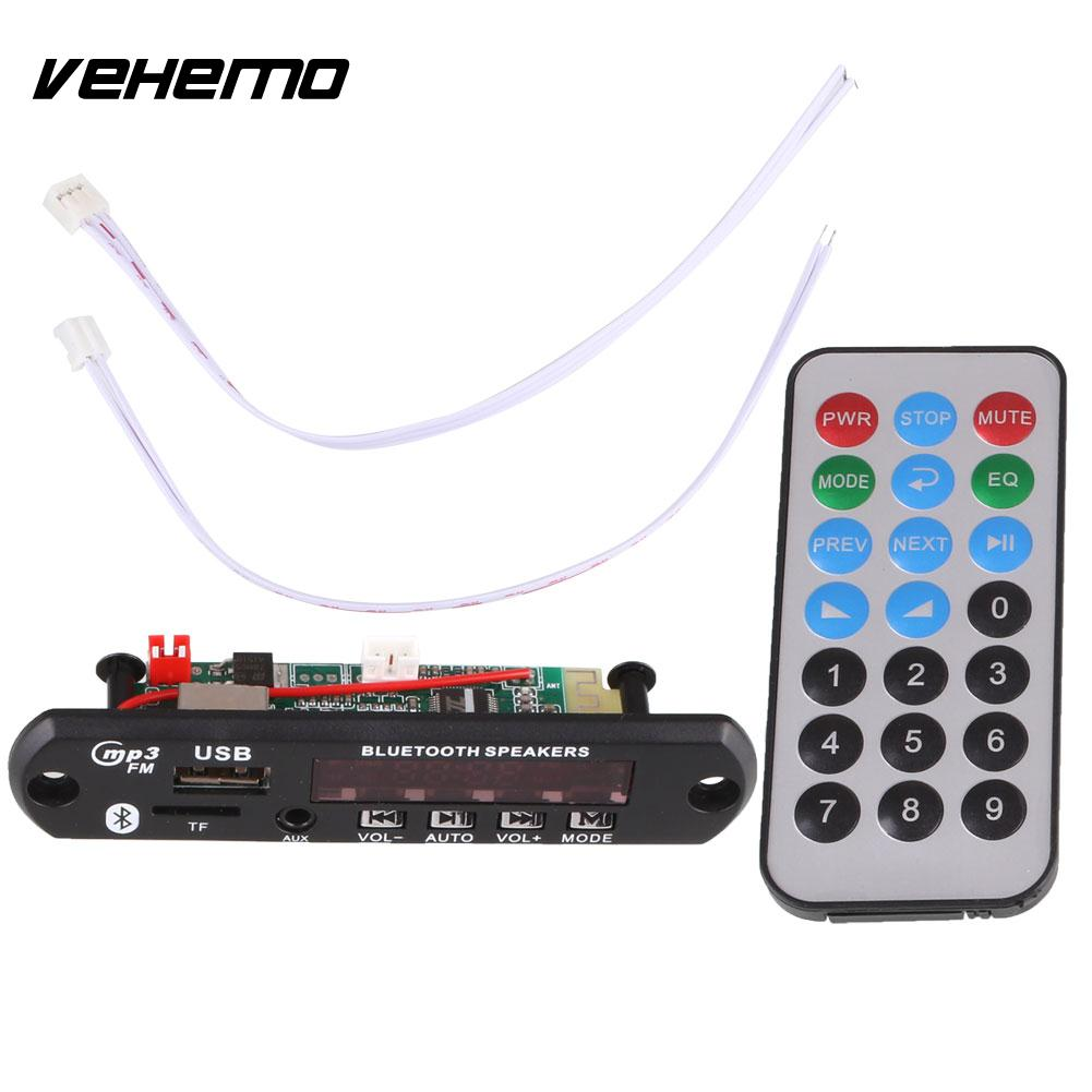 VEHEMO DC 12V Car Stying Auto Digital USB AUX Bluetooth MP3 Music Decode Board Module Audio HiFi Amplifier Remote
